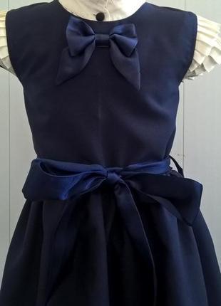 Тёмно-синий школьный сарафан с бантиком и поясом. школьная форма 122-1404 фото