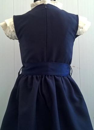 Тёмно-синий школьный сарафан с бантиком и поясом. школьная форма 122-1405 фото