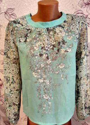 Роскошная шифоновая блуза с цветочным принтом мята uttam london