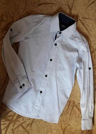 Белая рубашка в синий принт , 122 р.
