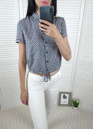 Рубашка в клетку с завязками bershka, р-р xs