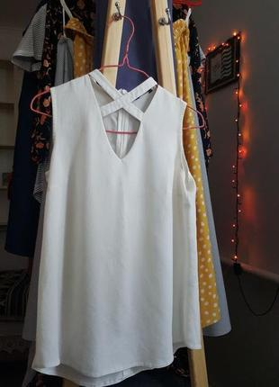 Новая женская майка белая шифоновая футболка поло кофта топ