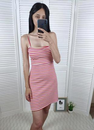 Платье полосатое  в рубчик bershka, р-р xs