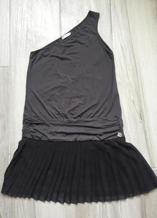 Платье серое с голой спиной на одно плечо eight sin