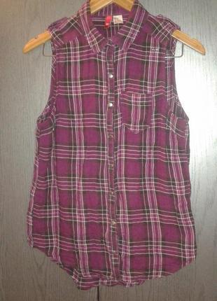 Стильная легкая рубашка в клетку без рукавов на кнопках h&m, размер 10/36(m).