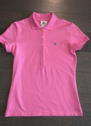 Срочно продам яркую розовую летнюю футболку поло lacoste 100% оригинал !