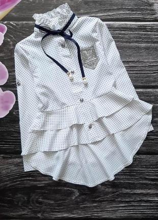 Блузка с воротником-стоечкой на завязках и  баской
