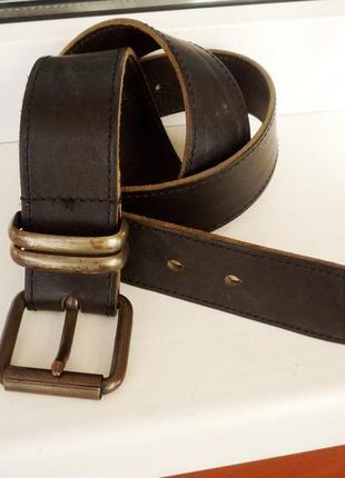 """Прочный мягкий широкий кожаный ремень """"genuine hide"""". англия. !!!"""