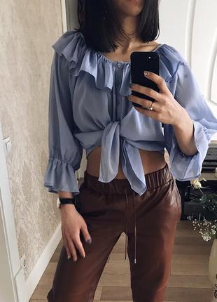 Шикарная блуза, топ пыльно-голубого цвета.