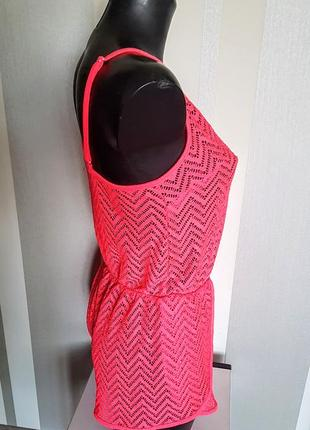 """Клевый пляжный ромпер комбинезон с шортами цвет розовый фуксия """"сетка"""""""