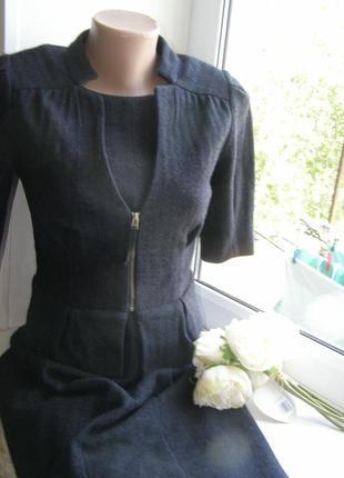 Banana republic костюм в деловом стиле (платье+пиджак) 100% шерсть s-размер