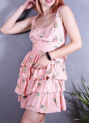 Нежное летнее платье персиковое, пышное платье сарафан короткий, короткое платье с принтом