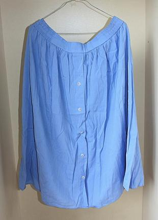 Голубая юбка-трапеция с пуговицами натуральная батал большой размер st.michael (к000)