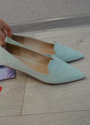 Стильные мятные туфли лодочки балетки слиперы