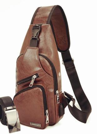Мужская сумка слинг с usb + подарок ремень , мини рюкзак бананк