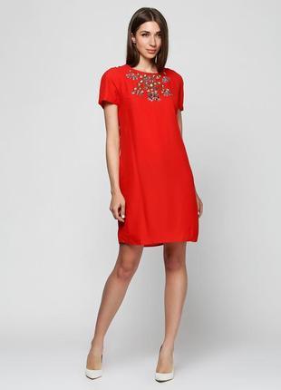 Красное платье с бисером плаття uttam london
