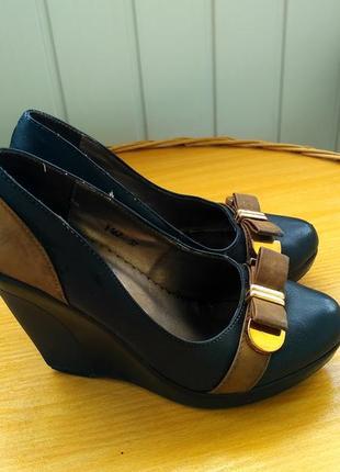 Туфлі жіночі, туфли женские на платформе, розмір 37, кожаные