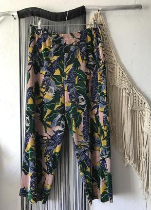 Кюлоты плиссированные в тропическую расцветку! брюки, штаны