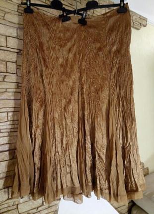 Жатая,гофрированная,длинная юбка в пол большой размер