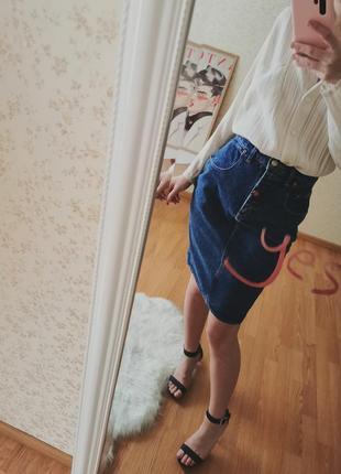 Винтажная джинсовая французская юбка