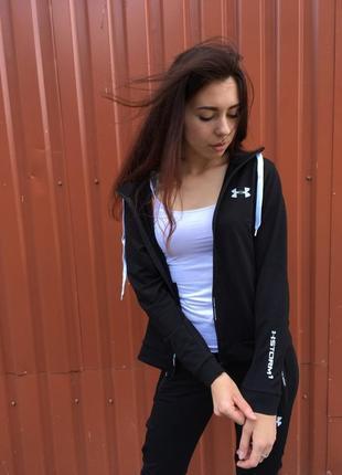 Спортивный костюм женский чёрный бренд змейка андер.