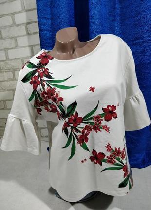 Свитшот  блузка с воланами и яркой накаткой