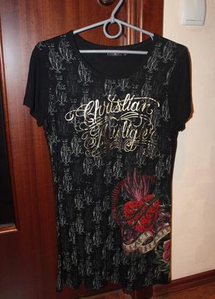 Удлиненная футболка christian audigier