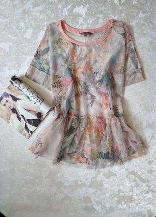 Красивая блуза блузка сетка сеточкой в цветочный принт с баской оборкой xxl xxxl