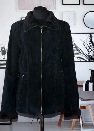 Куртка замшевая демисезонная с меховым воротником