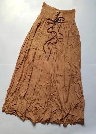 Шикарная длинная плиссированная юбка,летняя юбка в пол,макси юбка высокая посадка