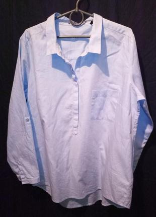 Рубашка женская хлопок голубая оверсайз