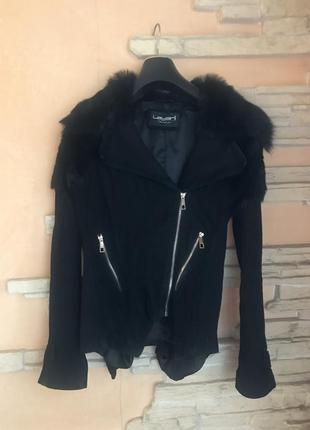 Замшевая куртка с меховым воротником1 фото