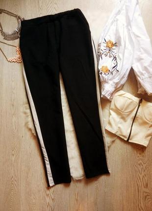 Черные брюки лампасами полосками по бокам джоггеры на резинке высокая талия батал штаны