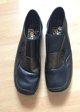 Кожаные туфли мокасины rieker