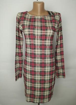 Платье новое вискозное красивое в клетку boohoo uk 10/38/s
