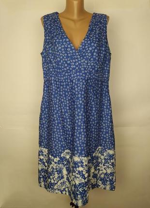 Платье натуральное лен красивое с вышивкой большой размер marks&spencer uk 18/46/xxl