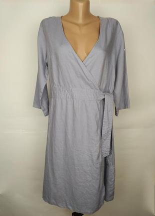 Платье льняное натуральное стильное на запах сиреневое 100% лен!!!uk 12/40,/m