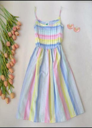 Лёгкий летний сарафан в яркую разноцветную полоску