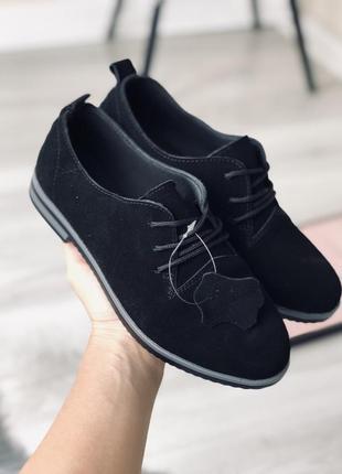 Женские чёрные туфли натуральная замша
