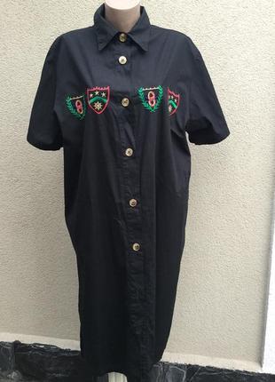 Винтаж,чёрное платье-рубашка,халат,вышивка,дизайн,dona daphna,люкс бренд,большой разм.