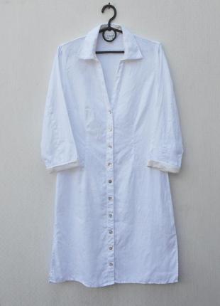 Белое летнее льняное платье рубашка east