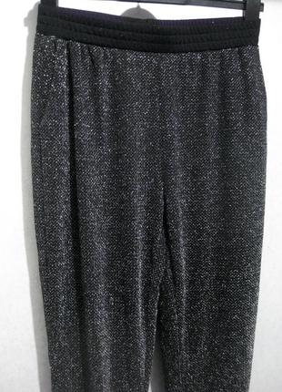 Брюки штаны envii чёрные люрекс блестящие вечерние на резинке свободные
