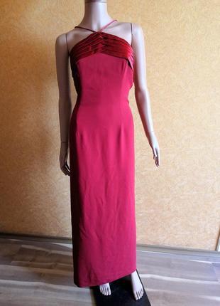 Вечернее бордовое марсала платье макси