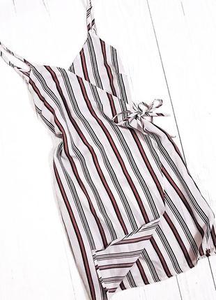 Лёгкое летнее шифоновое платье, сарафан в полоску на бретелях с запахом