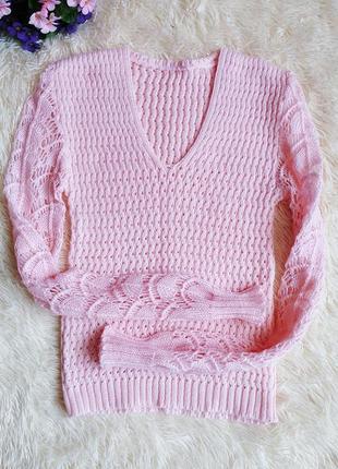 ♠️ подростковый вязаный шерстяной ажурный свитер пуловер ♠️