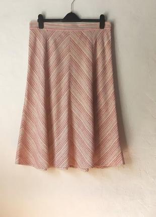 Летняя льняная юбка миди