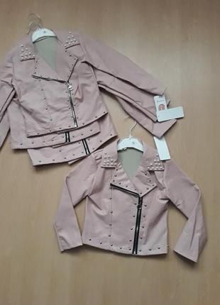 Куртка косуха на девочку 3-4 года италия пудра