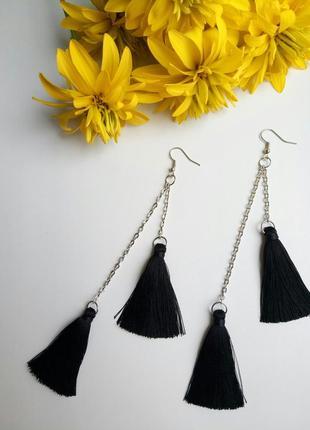 Серьги кисти черные с цепочкой, сережки кисточки, сережки кісточки чорні з ланцюжком!