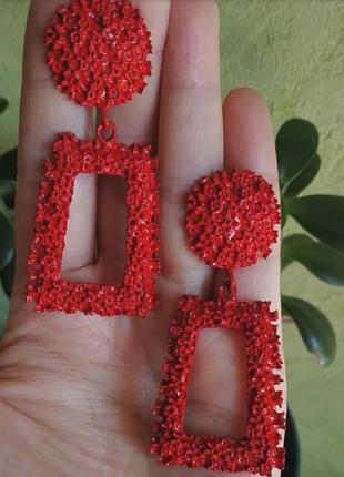 Серьги в стиле zara сережки красные винтаж