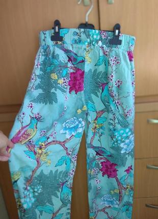 Легкие, летние брюки на резинке,  штаны с принтом